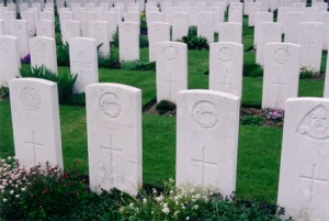 My photo of soldiers' graves at Tyne Cot, Flanders.