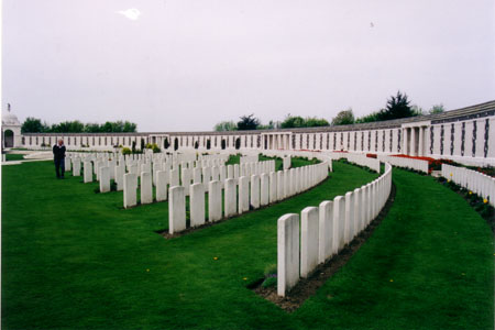 My photo of soldiers' graves at Tyne Cot, 2004.