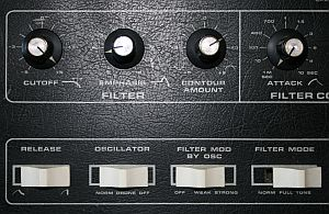 Close-up of the filter controls of my Moog - er - quantum healing device...