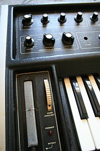 The worn out ribbon pitch-controller on my Micromoog. Apparently Bob Moog invented that device for Beach Boys keyboard player Brian Wilson.