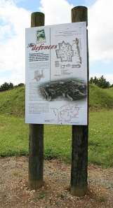 Interpretation board at Ruapekapeka pa, Bay of Islands.