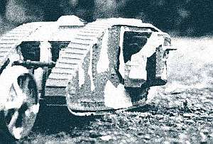 """An Airfix 1/76 Mk IV """"Male"""" tank from 1917, which I built when I wasn't writing."""