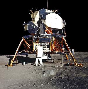 Buzz Aldrin and the LM, 20 July 1969. Photo: NASA