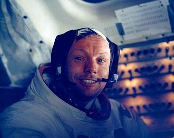 Neil Armstrong in the LM, tired but elated after the first moon walk, 20 July 1969. Photo: NASA