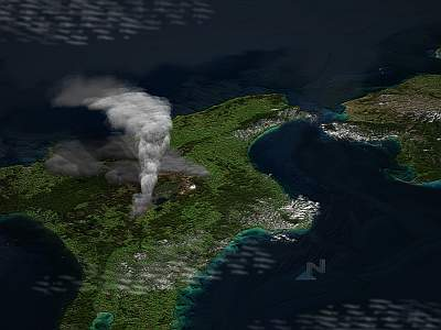 The Oruanui eruption, Taupo, 26,500 BP. From http://en.wikipedia.org/wiki/File:Taupo_2.png
