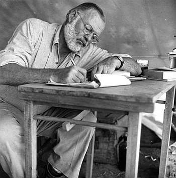 Ernest Hemingway ( J F Kennedy Presidential library, released to public domain)