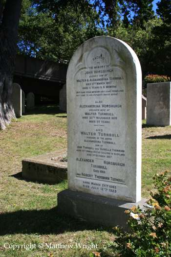 Headstone of the Turnbull family - founders of what is now New Zealand's premier historical archive and library.