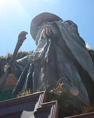 Weta's 10-metre high Gandalf above the Embassy theatre, Courtenay Place, Wellington.