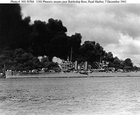 USS Phoenix after the Pearl Harbor attack. She survived this assault but, as the 'General Belgrano', was sunk in 1982 by a British submarine during the Falklands war. Public domain, http://www.ibiblio.org/hyperwar/ OnlineLibrary/photos /images/h50000/h50766.jpg