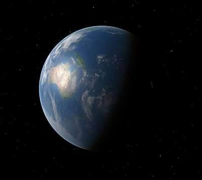 Earth. An image I made with my Celestia installation (cool, free, science package).
