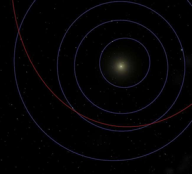 Toutatis' orbit relative to Earth - made with my Celestia installation.