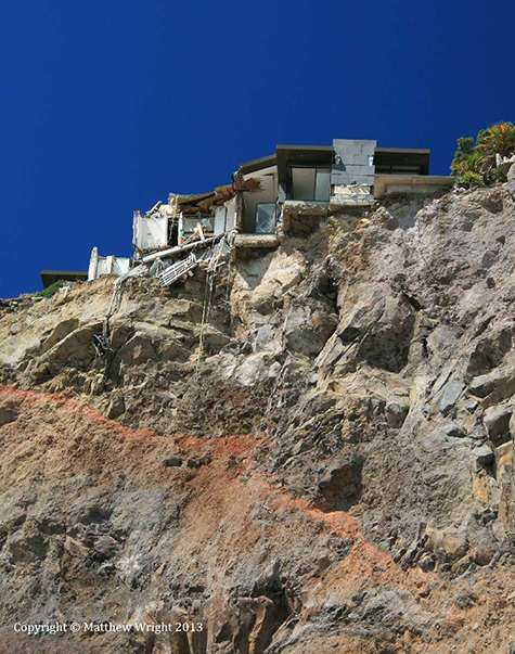 Tumbling rocks devastated houses beneath - and above.