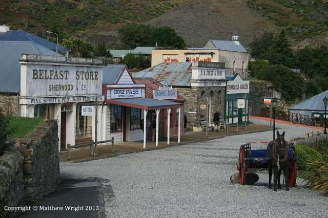 Cromwell's preserved historic district - once a road at the top of the town, now lapped by the waters of Lake Clyde.