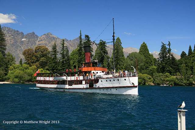 TSS Earnslaw, 101 years old now and an icon of the lake. An old family friend was steam engineer on board until his recent retirement. You'd never guess, but I took this picture with just two hours to go before rain socked in.