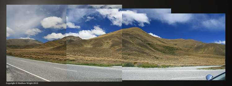 These days anyone can create a perfect panorama. I still prefer the old collage effect with hand-held SLR. I took these shots of the Lindis Pass, deliberately moving the camera to create that jigsaw look, and pasted the results together manually.
