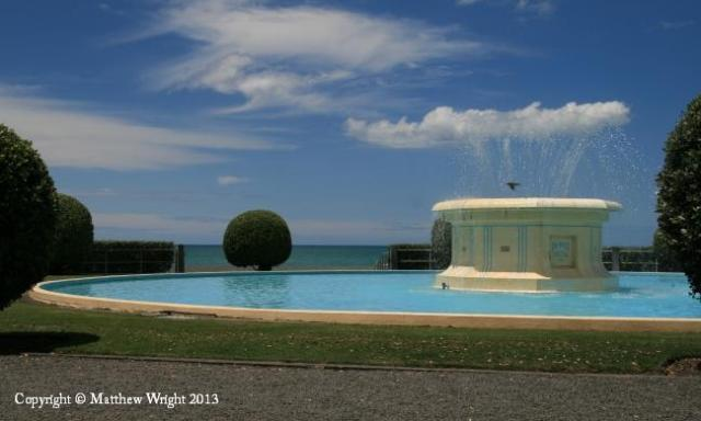 The Tom Parker Fountain, on Napier's town centre foreshore, was donated by local identity Tom Parker in 1936. Though midelled on an English example, it is pure deco, a Hollywood fantasy in a townscape that was once going to be rebuilt along the lines of Santa Monica. I have been photographing it for years in many weathers and seasons.