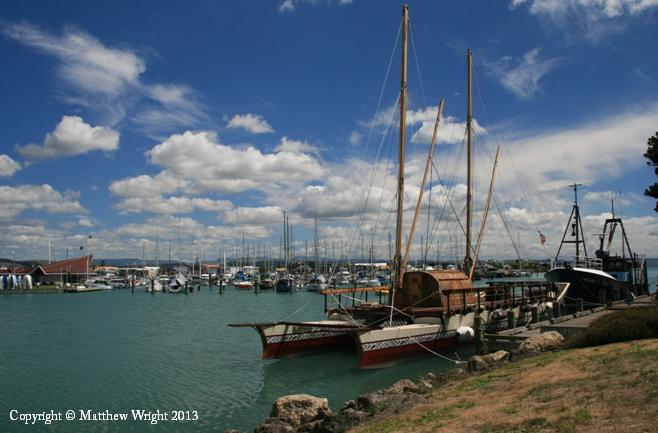 Ocean going waka moored against East Quay, Ahuriri harbour, Napier New Zealand. Earlier in 2012, I spent hours standing in Awarua harbour, Rarotonga, trying to photograph this one.
