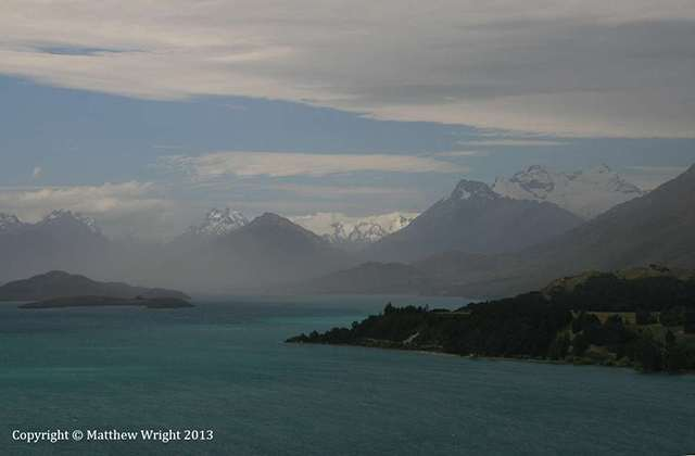 The view towards Glenorchy at the top of Lake Wakitipu. Fog rolled in as I took this one. Of course...