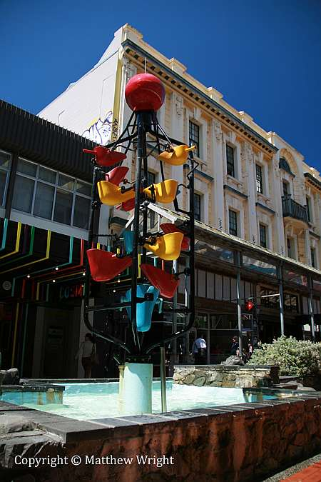A rather busy photo of the 'Bucket Fountain' in Cuba Street. Iconic since the 1970s.