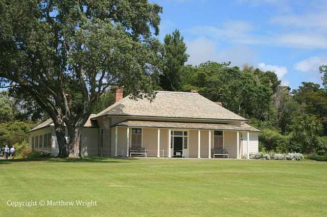 A photo I took in 2011 of the 'Treaty House' at Waitangi - the home of British Resident, James Busby from 1833. Now restored as a museum. The Treaty was finalised in the room behind the window on the right, which is laid out today as it was on 5 February 1840.