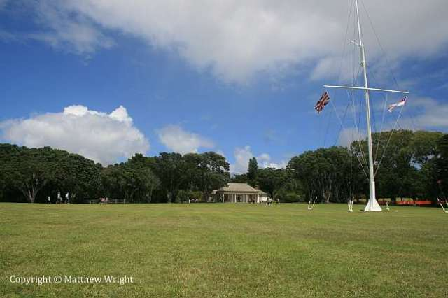 The lawn in front of the 'Treaty House' at Waitangi, pretty much as it was in 1840 - complete with flagpole. On the day, a marquee was raised to the right of this picture.