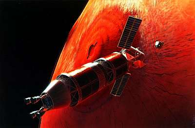 Conceptual artwork by Pat Rawlings of a Mars mission rendezvous from 1995. NASA, public domain, via Wikipedia.
