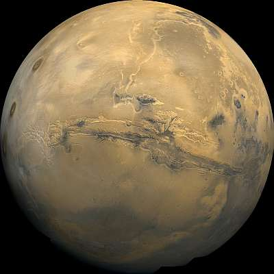 Composite panorama of Mars. Not going to be seen by the 2018 expedition, as they'll fly past the night side. NASA, public domain.