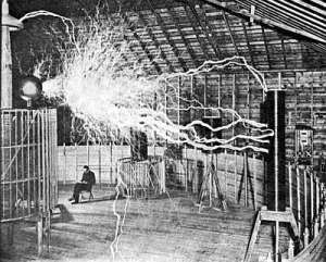 Nikolai Tesla with some of his gear in action. Public domain, from http://www.sciencebuzz.org/ blog/monument-nearly-forgotten-genius-sought