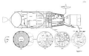 Cut-away of the modified Apollo/SIVB 'wet lab' configuration for the 1973-74 Venus flyby. NASA, public domain, via Wikipedia.