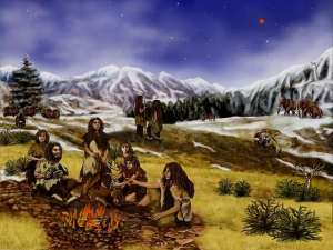 Neanderthal family group approximately 60,000 years ago. Artwork by Randii Oliver, public domain, courtesy NASA/JPL-Caltech.