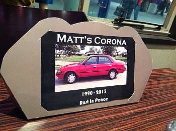 Memorial card at the wake for my Corona. Photo: Mentis Fugit.