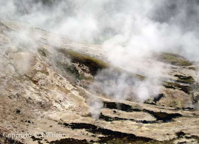 Photo taken by my wife one day in early 2005 of the Orakei Korako thermal zone just north of Taupo.