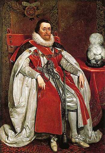 James I of England, portrait by Daniel Myrtens, 1621. Public domain, via Wikipedia.