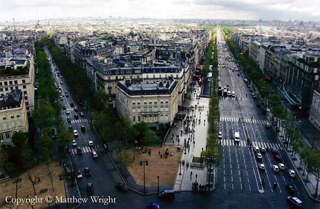A photo I took from the top of the Arc de Triomphe - Hausmann's wide boulevards with their clear lines of fire for cannon very evident.