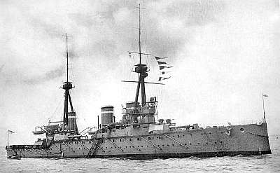 HMS Invincible - invented by Jack Fisher and absolutely not going to sail on a Friday 13th in 1914.