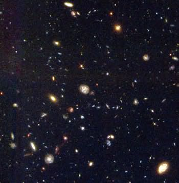 Into deepest space: Hubble space telescope image of galaxies from the early universe. Public domain, NASA.