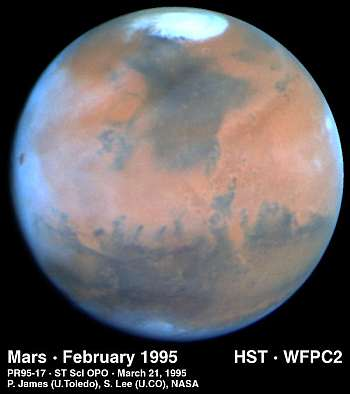 Mars imaged in 1995 by the Hubble Space Telescope - with blue cast due to Rayleigh scattering. Cool. Photo: NASA, public domain.