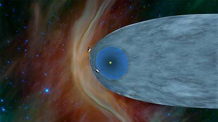 Voyager probes at the heliopause. Credit: NASA/JPL, public domain.