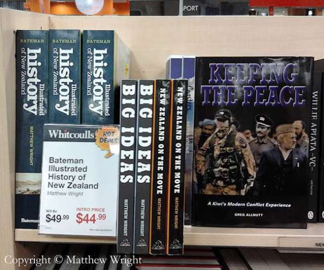 Here's my Bateman Illustrated History of New Zealand in the history section alongside two of my Random House titles.