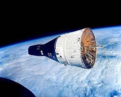 Gemini 7 from Gemini 7, 15 December 1965. NASA, public domain, via Wikipedia.