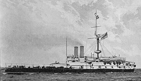 HMS Victoria. Her bows are to the left. Public domain, via Wikipedia.