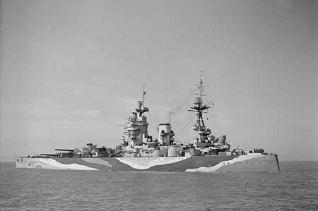 HMS Rodney after refitting at Liverpool, 1942. Public domain, via Wikipedia.