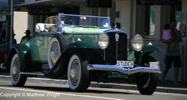 Studebaker at large. Restored 1930s cars are a common sight around town these days.