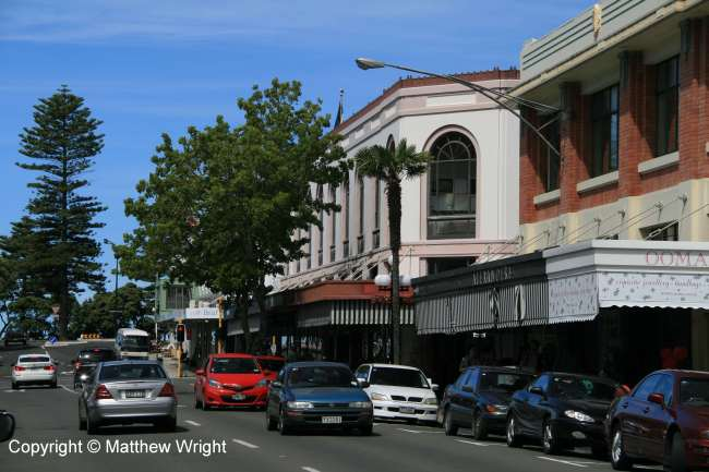 The Market Reserve building, centre here on Tennyson Street, was the first to go up after the devastating 1931 quake - it had been authorised before the disaster and would have been built anyway.