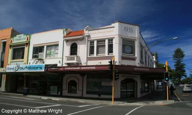 Modernist buildings on the corner of Hastings and Tennyson Streets, Napier, New Zealand.
