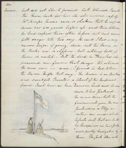 Maori under the 'United Tribes' flag 1834. Watercolour by Edward Markham. (United Tribes Ensign, Waitangi). New Zealand or recollections of it. Ref: MS-1550-120. Alexander Turnbull Library, Wellington, New Zealand. http://natlib.govt.nz/records/22776952)