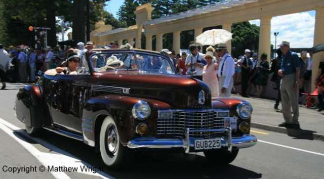 Quintessential modernism - streamline-age Cadillac convertible.