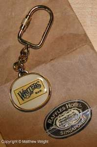 My key-ring from the Raffles Writers Bar. Complete with the original wrapping (yes, I am a writing nerd).