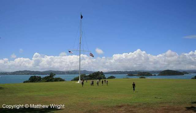 Treaty grounds at Waitangi - now a national historical site. The Treaty was signed near a marquee raised on the grass to the right of the flagpole, which is about where the flagpole was in 1840.