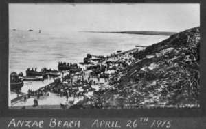 Anzac beach, Gallipoli.  Hampton, W A, fl 1915 :Photograph album relating to World War I. Ref: 1/2-168790-F. Alexander Turnbull Library, Wellington, New Zealand. http://natlib.govt.nz/records/22796036